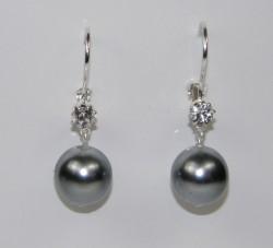 Naušnice perlička s kamínkem - světle šedé d06473a2b6