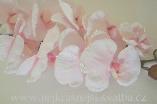 Zimni Kvetinova Dekorace Orchidej Glitery Ruzova Stvol