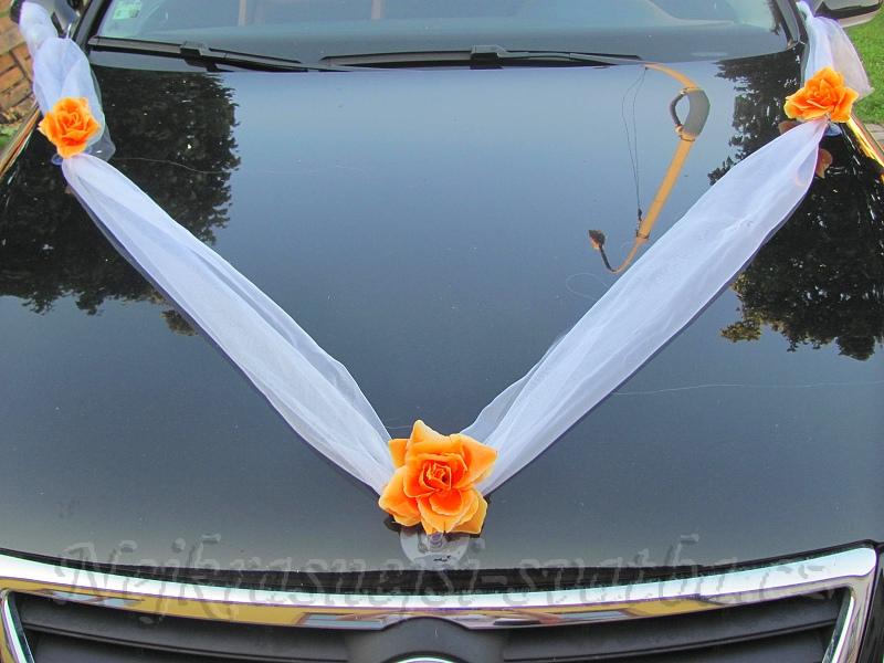 Dekorace Na Auta Serpy Svatebni Dekorace Serpa Na Auto Oranzova Ruze